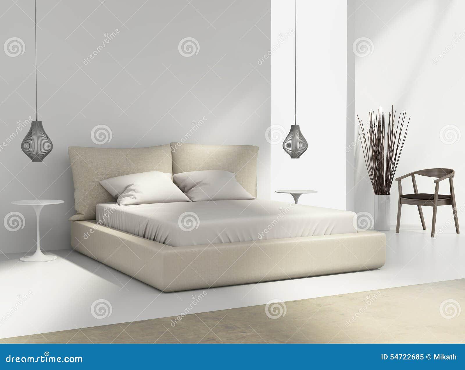 witte en beige slaapkamer met stoel en lampen