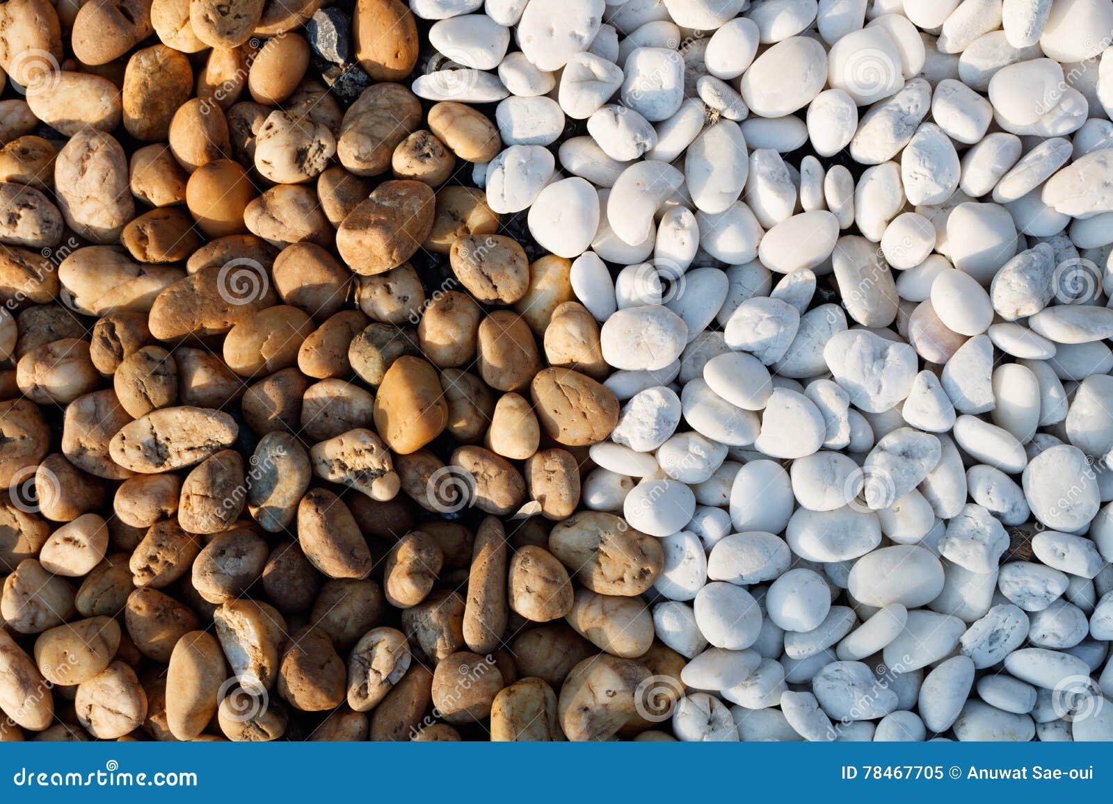 Witte en bruine kiezelsteensteen