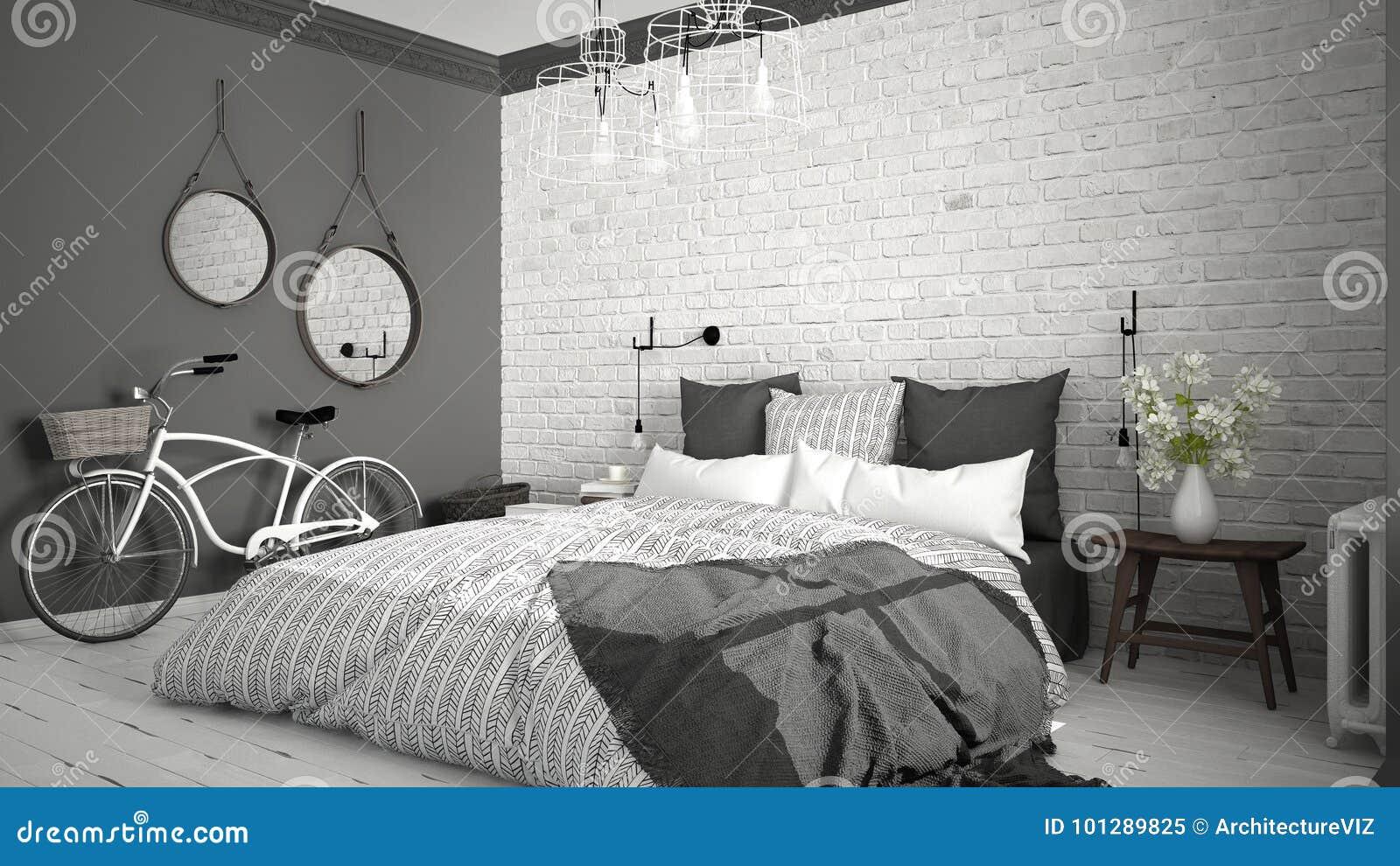 Witte en grijze moderne slaapkamer met comfortabel for Bed in muur