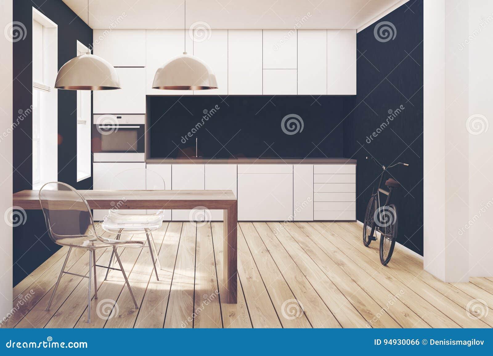 Zeer Witte En Zwarte Keuken, Houten Gestemde Vloer Stock Illustratie @QB91