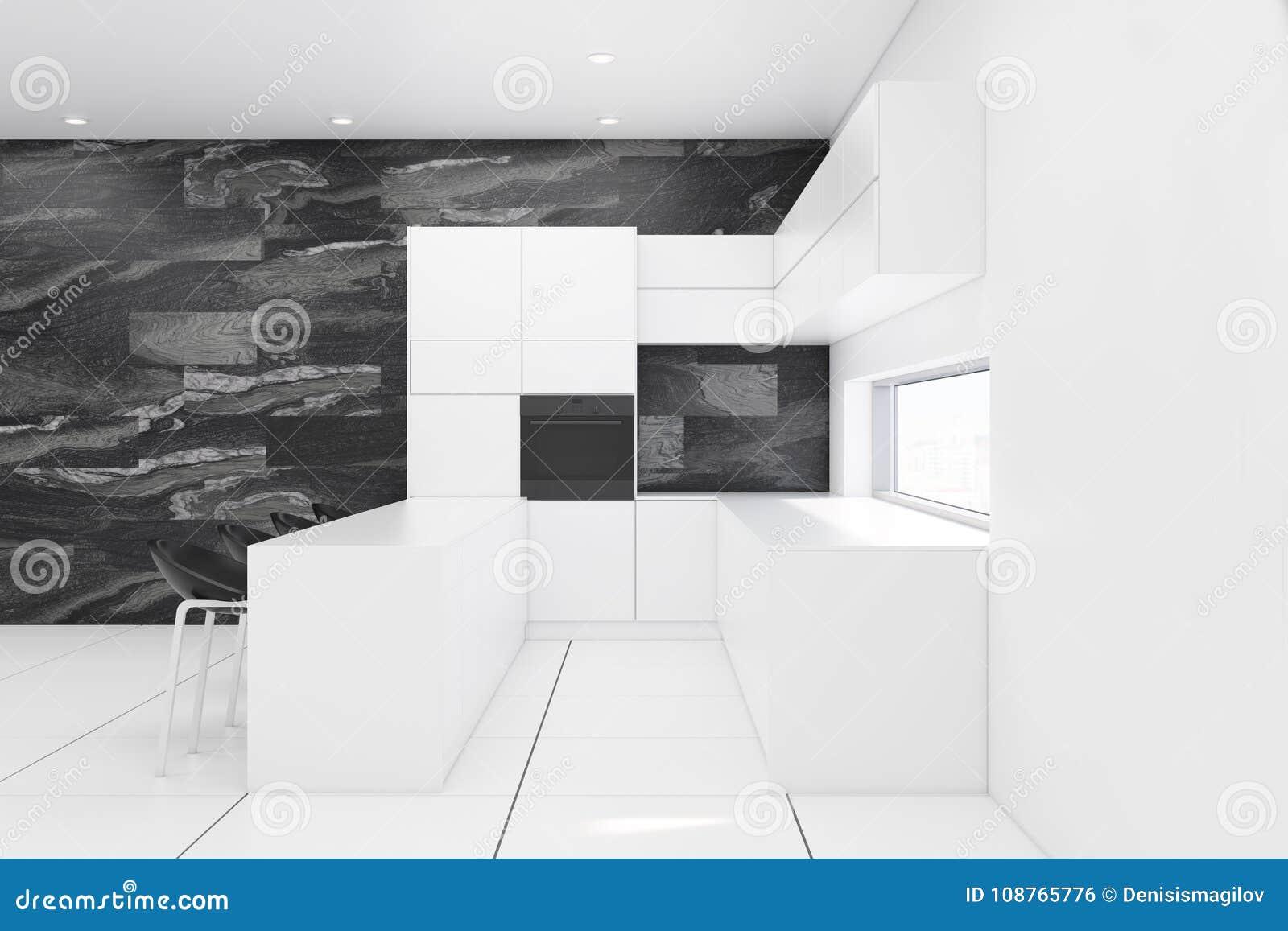 Marmer Zwart Keuken : Witte en zwarte marmeren keuken stock illustratie illustratie