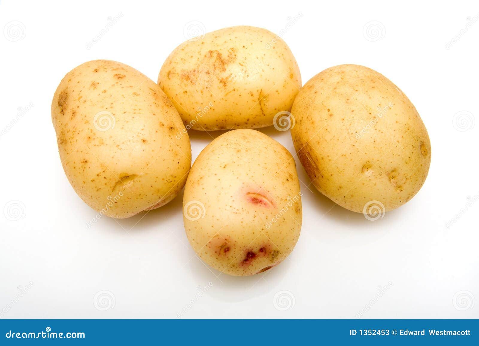 Witte geïsoleerdec aardappels.