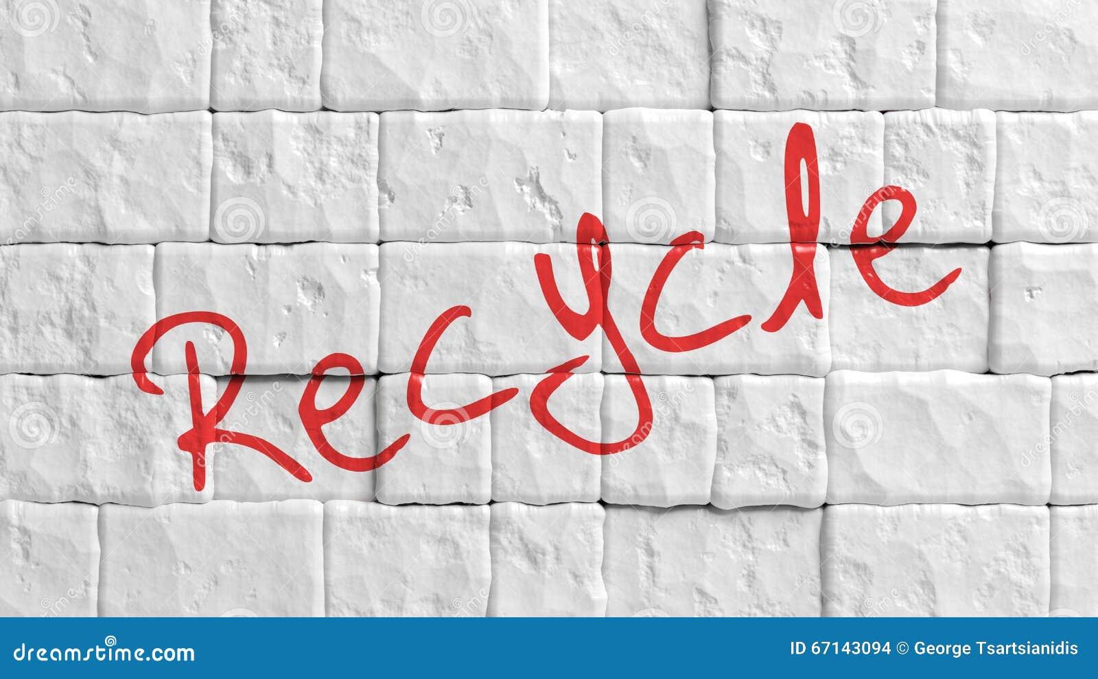 Witte geschilderde bakstenen muur met rood Kringloop