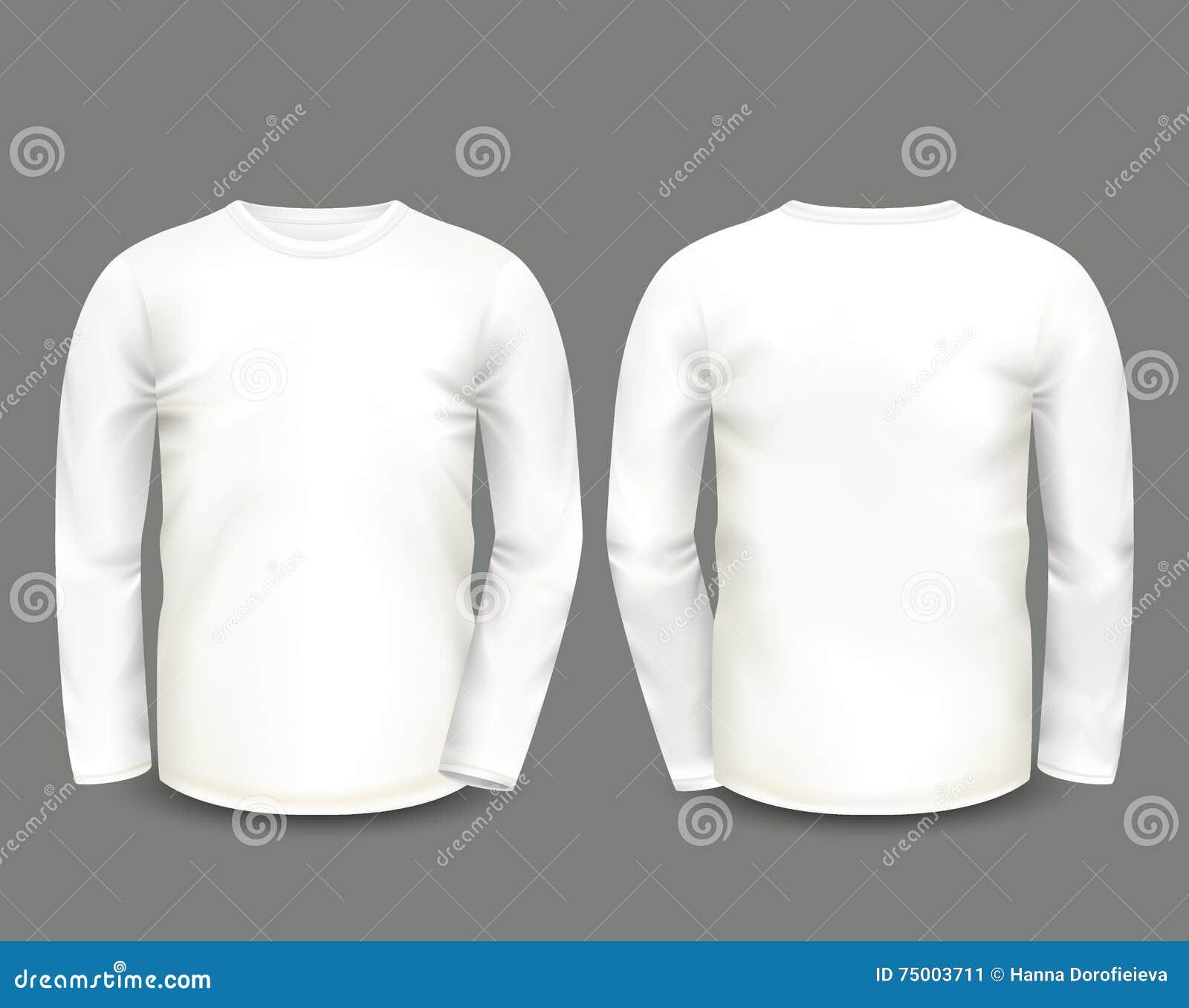 Witte het sweatshirt lange koker van mensen in voor en achtermeningen Vector Malplaatje Volledig editable met de hand gemaakt net