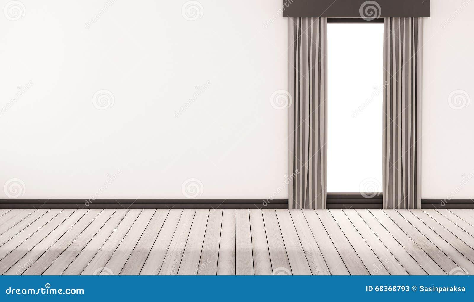 Witte Houten Vloer : Witte houten vloer met witte muur en venster met gordijnen
