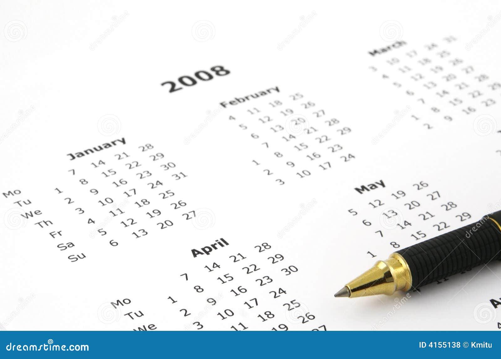 Witte jaarlijkse kalenderpagina