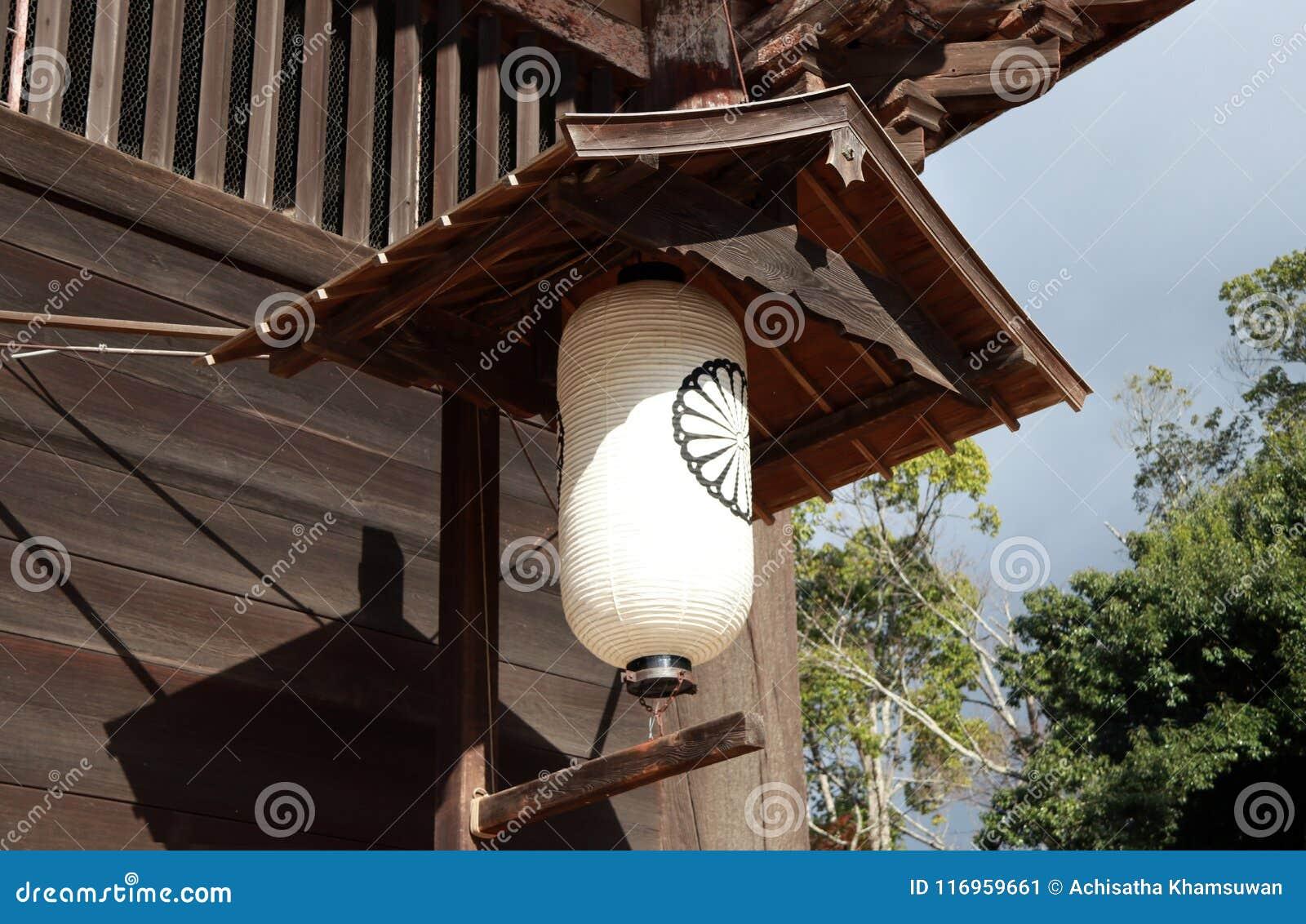 Witte Japanse document lamp met zwart symbool van bloem voor de tempel Todai -todai-ji