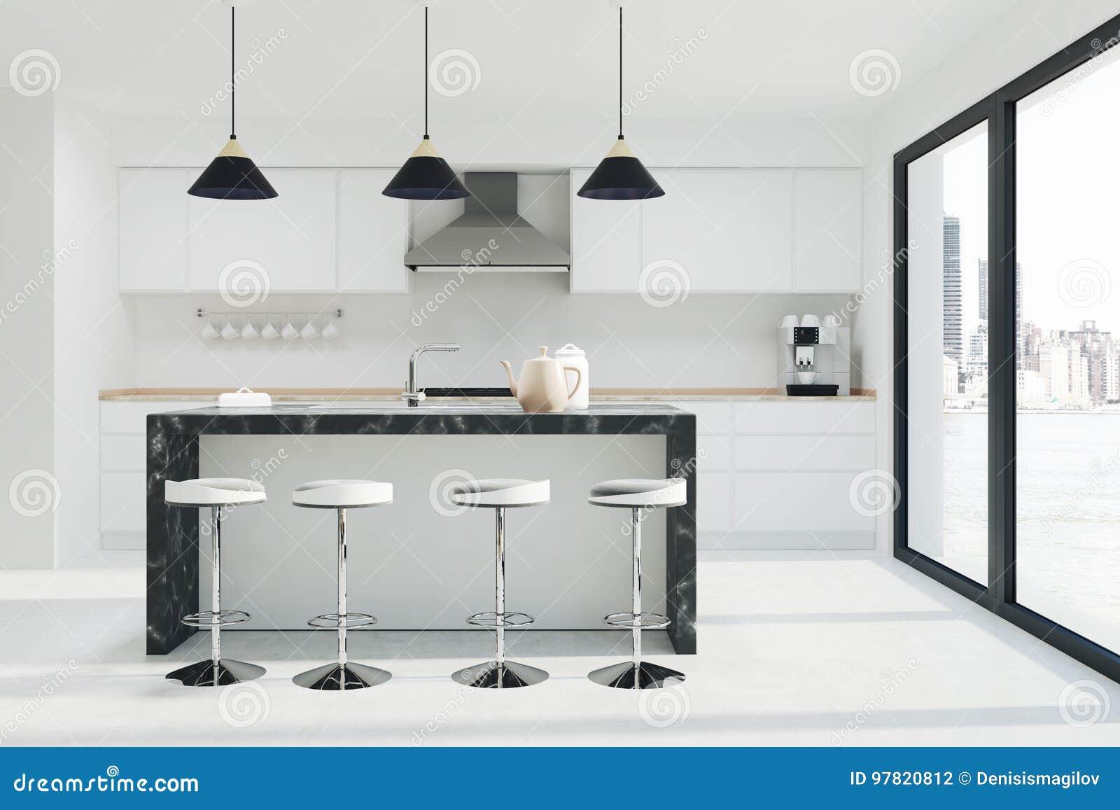 Witte keuken binnenlandse donkere marmeren bar stock illustratie