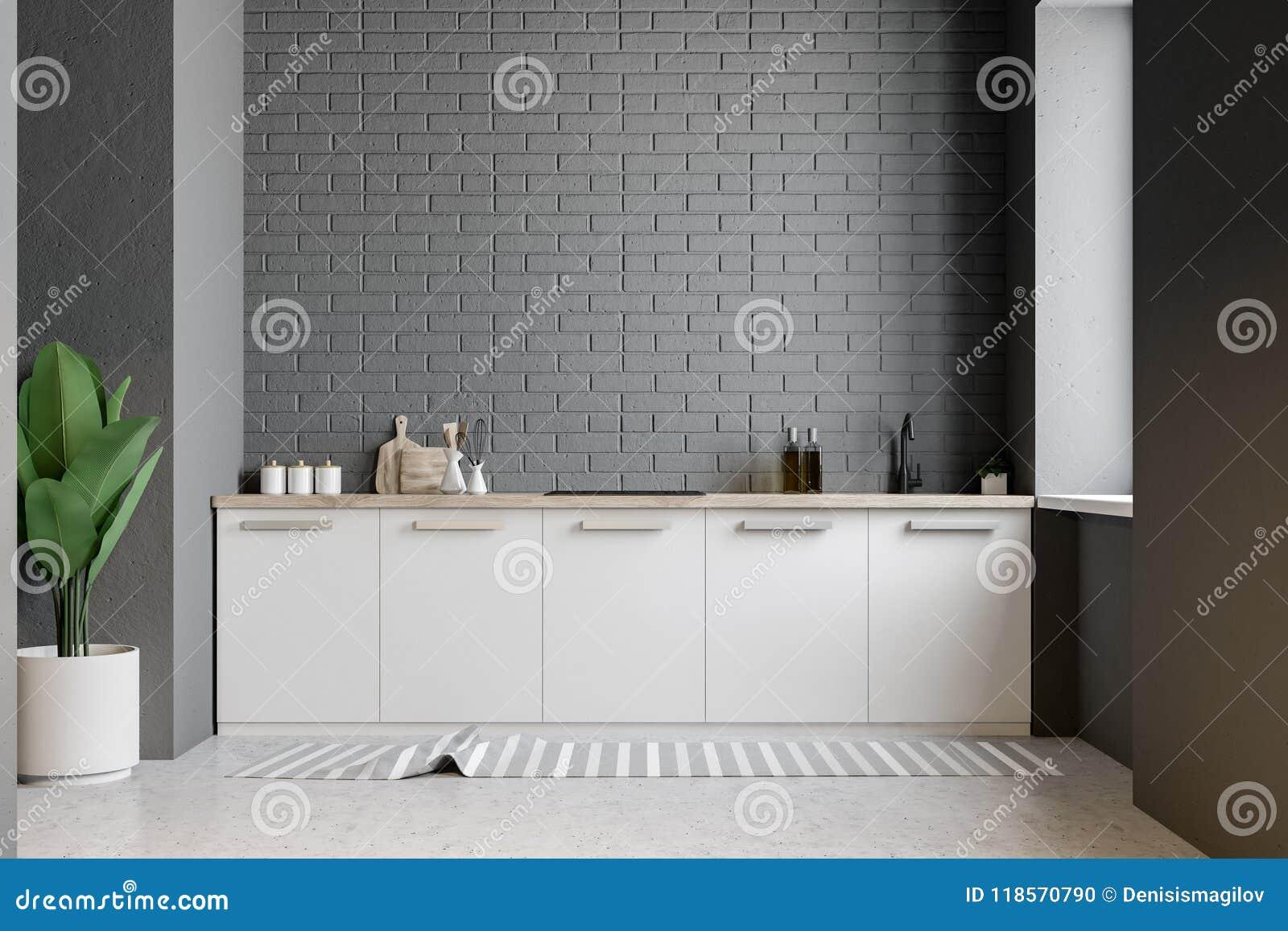 Witte keuken tegen grijze bakstenen muur stock illustratie