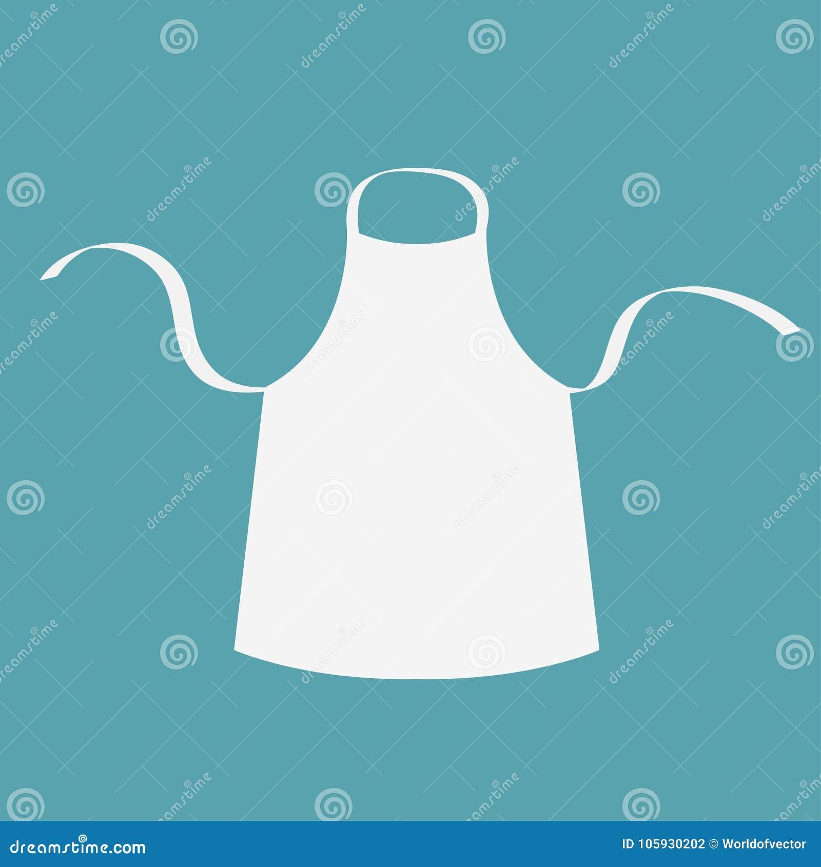 Witte lege keuken katoenen schort Eenvormig voor kokchef-kok of bakker Kokend pictogram het malplaatje van de menukaart Vlak Ontw