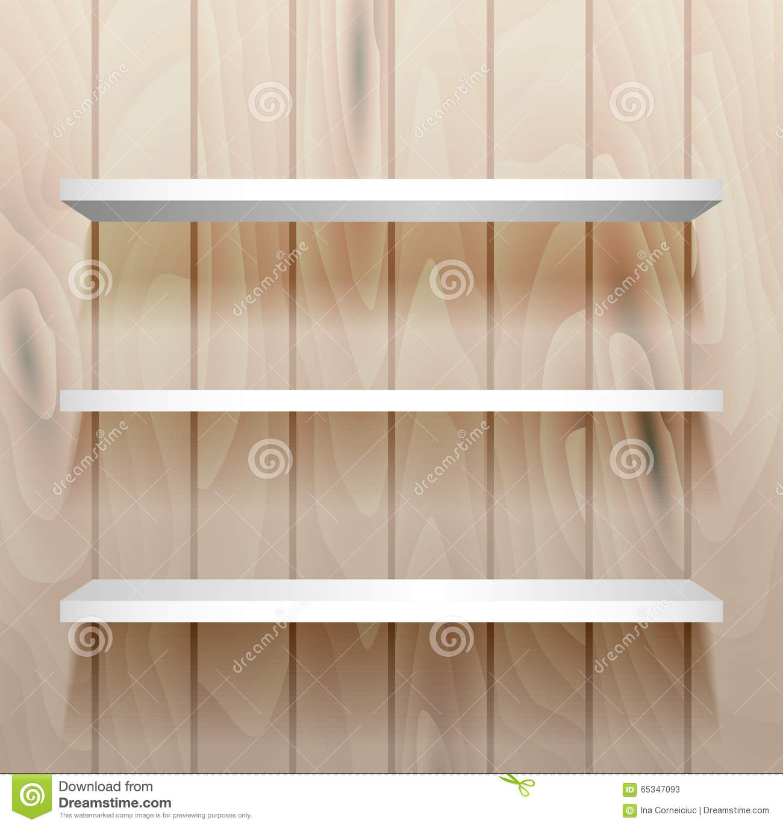 Witte lege planken op de muur vector illustratie afbeelding 65347093 - Parket aan de muur ...