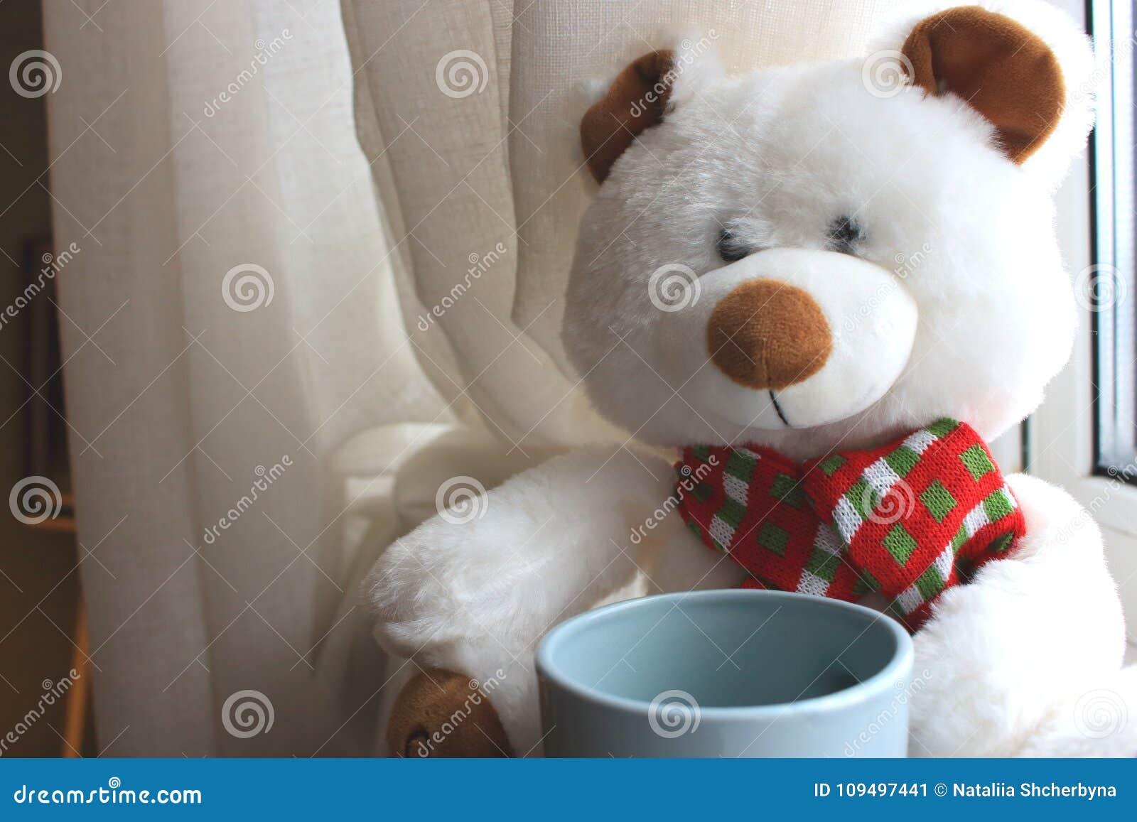 Witte Leuke Teddybeer Met Kopzitting Op Venster Met Gordijnen Zacht ...