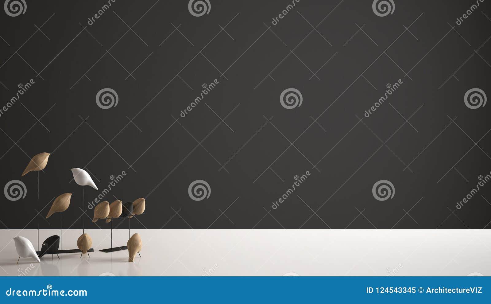 Witte lijstbovenkant of plank met minimalistic vogelornament, vogeltje knick - handigheid over donkere achtergrond met exemplaar