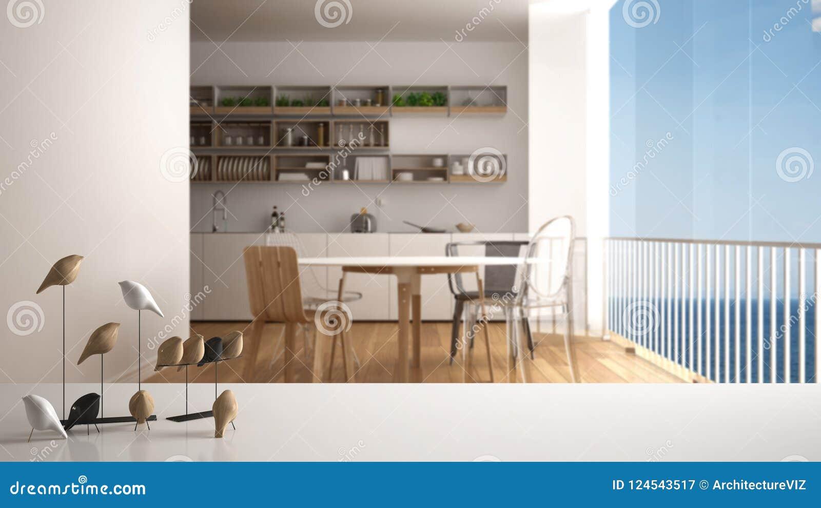 Witte lijstbovenkant of plank met minimalistic vogelornament, vogeltje knick - handigheid over vage eigentijdse minimalistische k