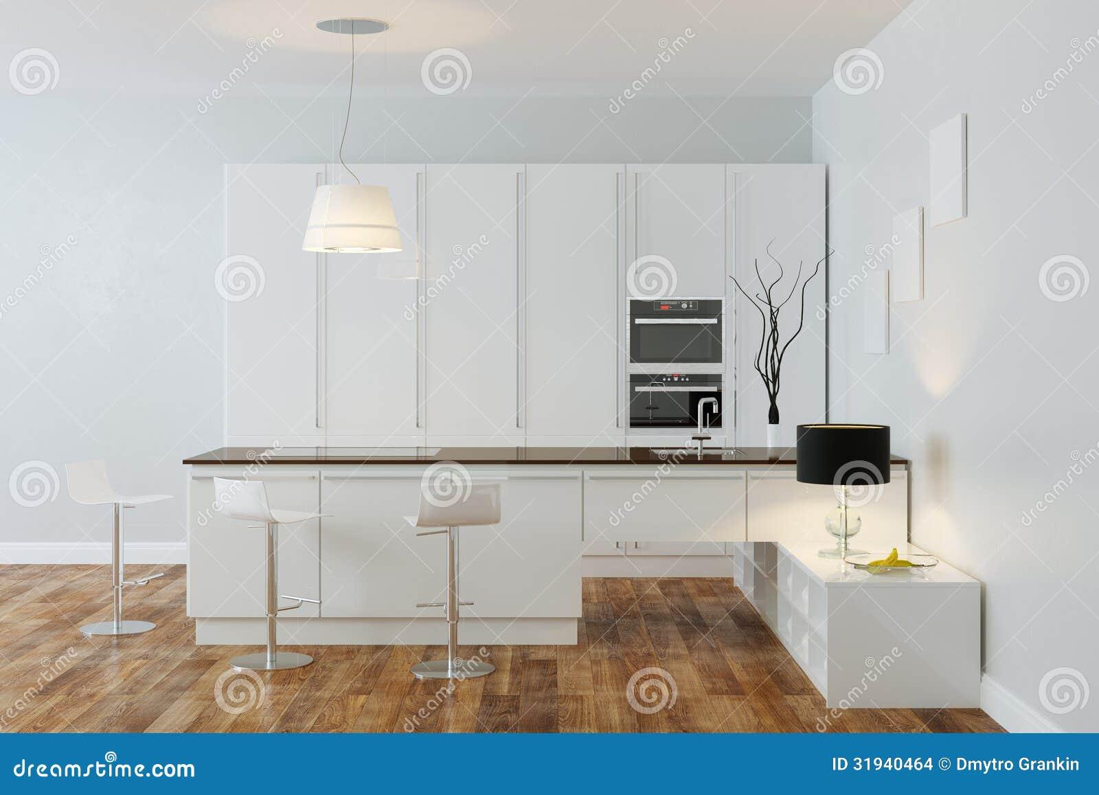 Witte luxehi tech keuken met bar (front view) stock afbeeldingen ...