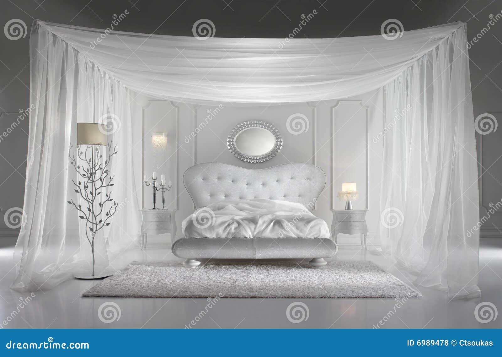 Witte luxueuze slaapkamer royalty vrije stock foto 39 s afbeelding 6989478 for Slaapkamer deco