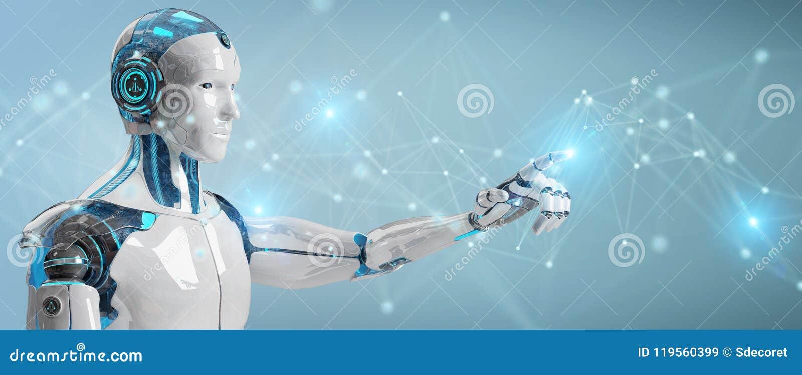 Witte mensenrobot die digitaal netwerkverbinding het 3D teruggeven gebruiken