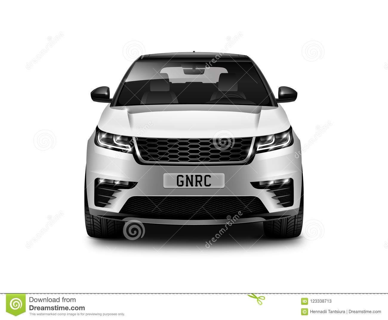 Witte Metaal Generische SUV-Auto op Witte Achtergrond Front View With Isolated Path