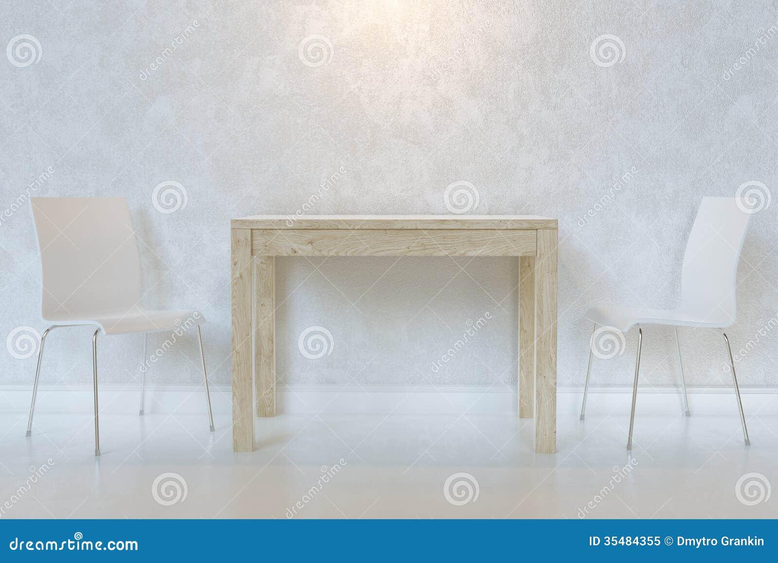 Witte Minimalistische Eetkamer Met Houten Lijst En Triplexstoelen Met Verlichting Royalty vrije