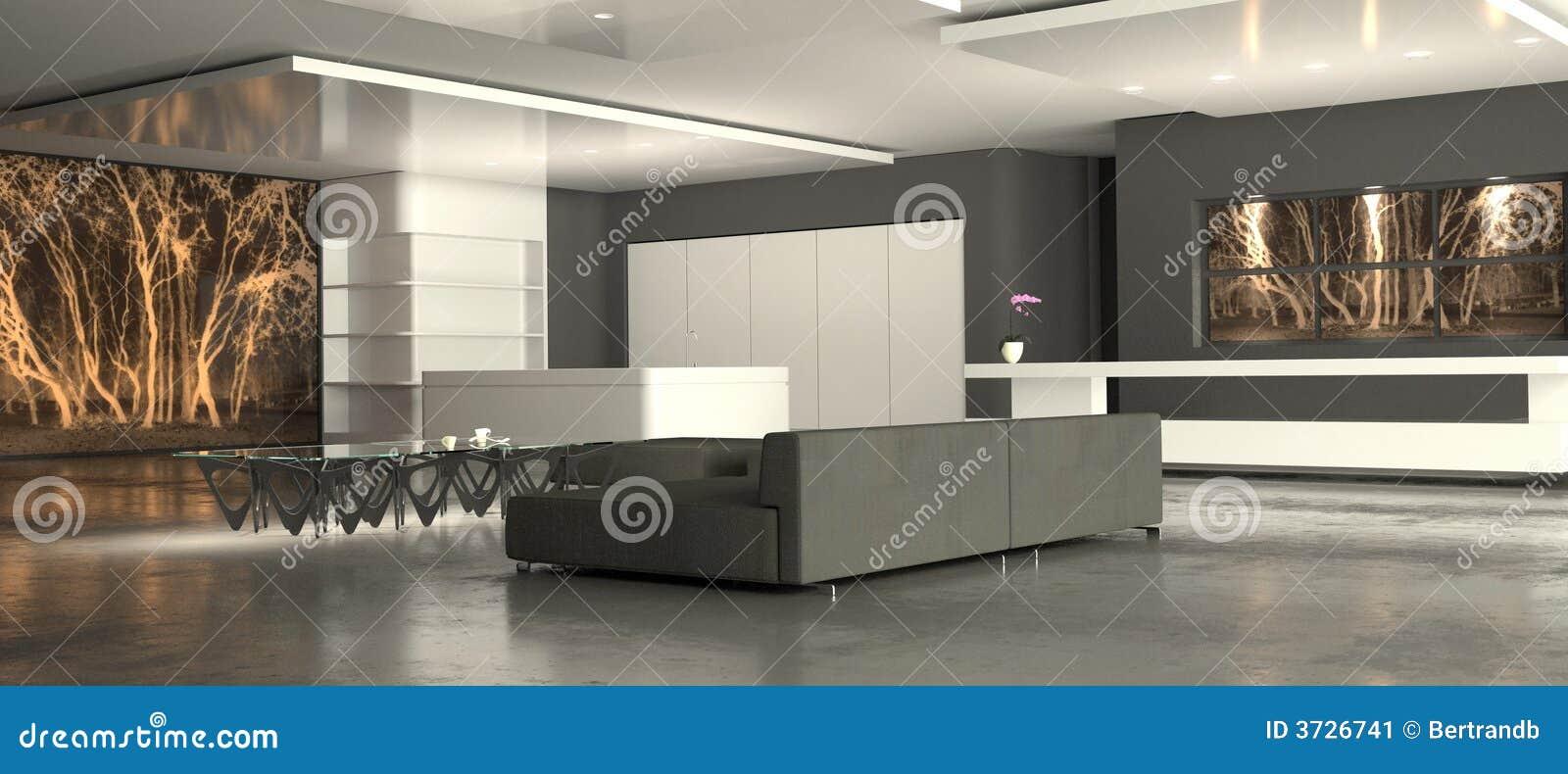 Witte minimalistische woonkamer