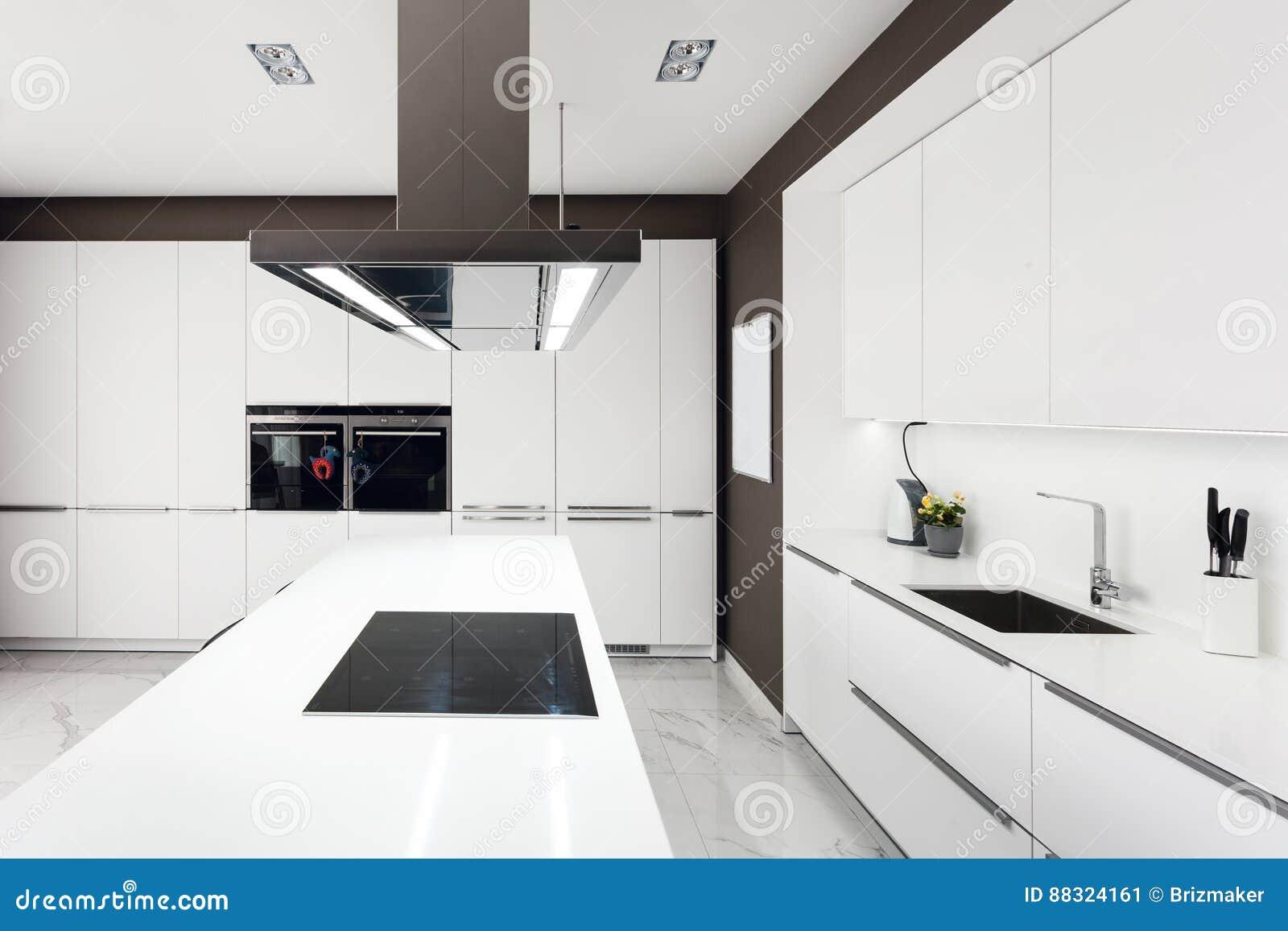 Witte moderne keuken met staaltoestellen stock afbeelding