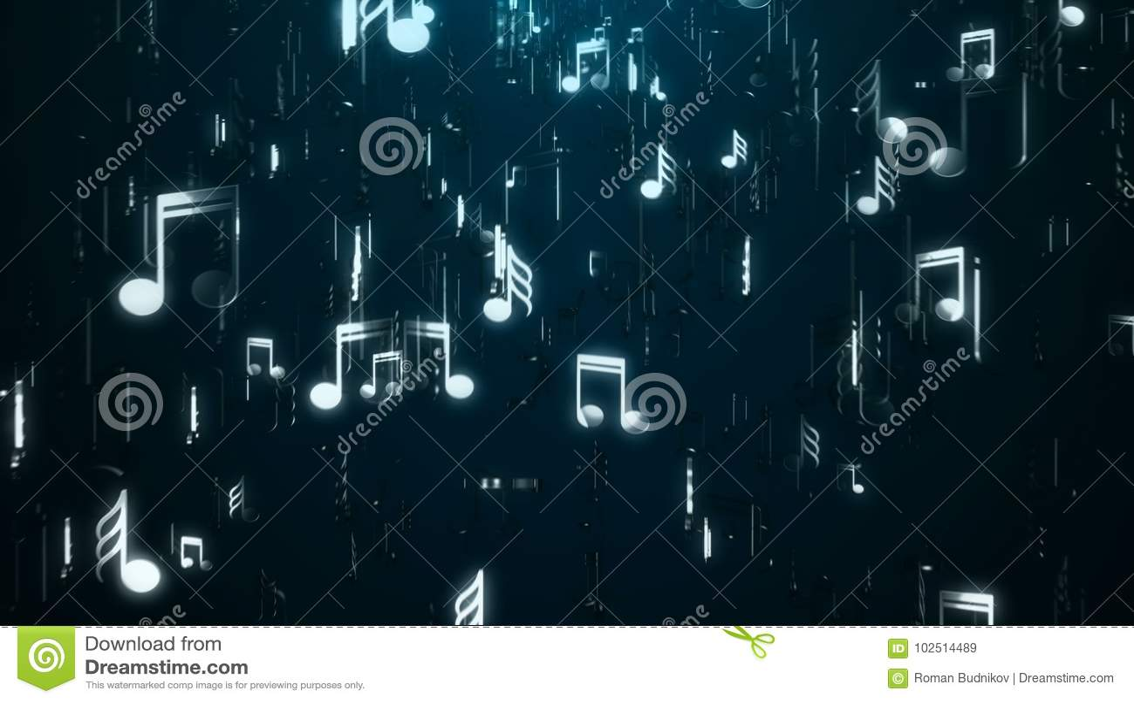 Witte muzieknota s abstracte achtergrond Digitale illustratie