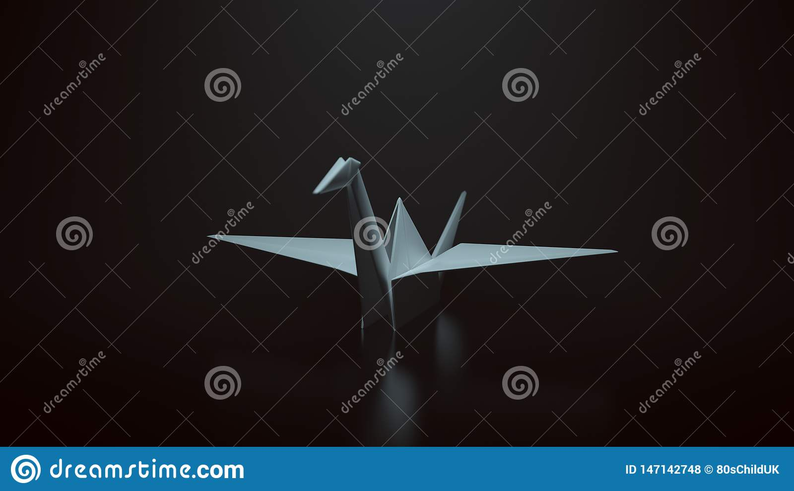 Witte Origamidocument Kraan op een Zwarte Achtergrond met top down Verlichting