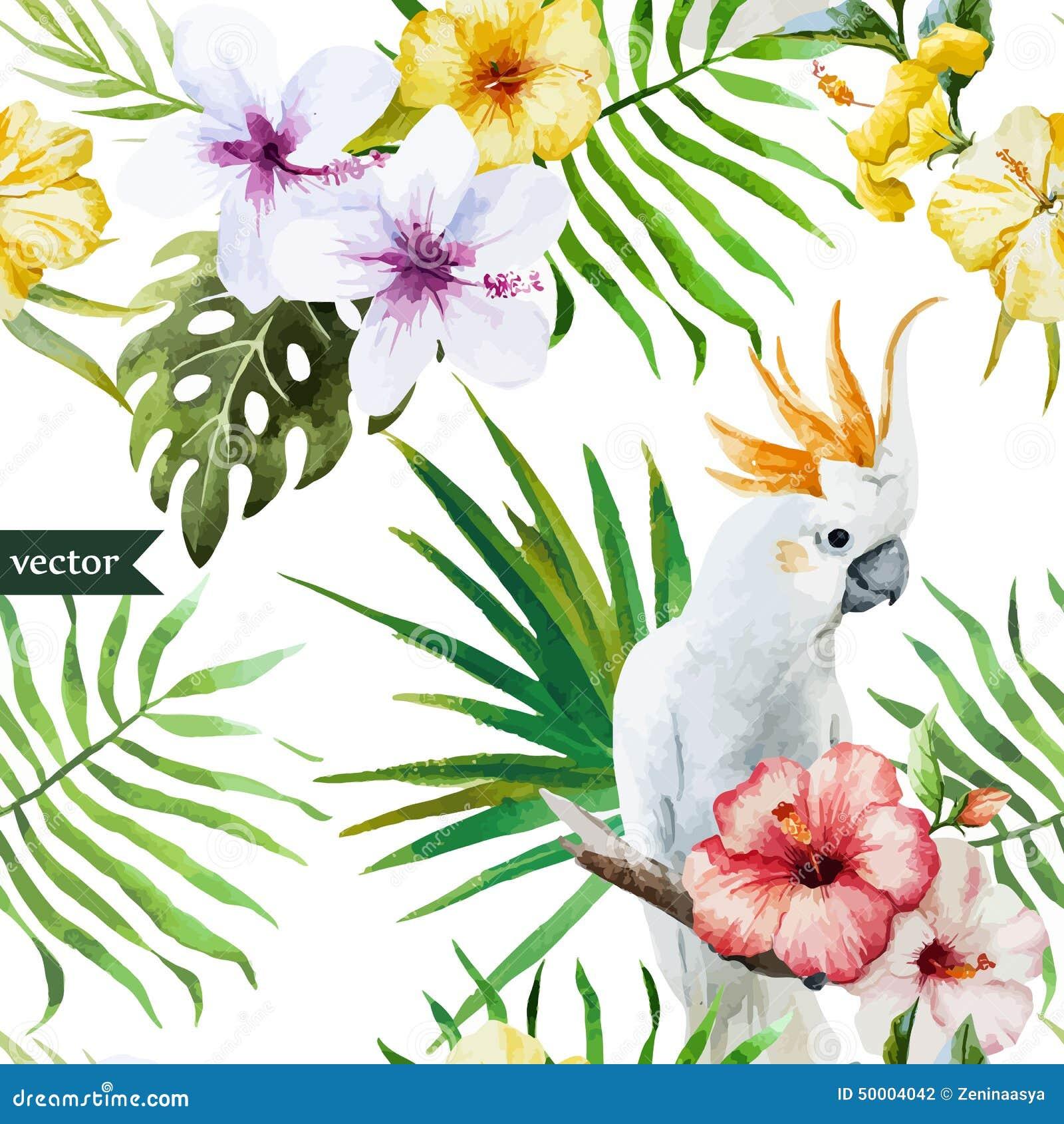 Disegni Di Piante : Witte papegaai tropische hibiscus palmen bloemen
