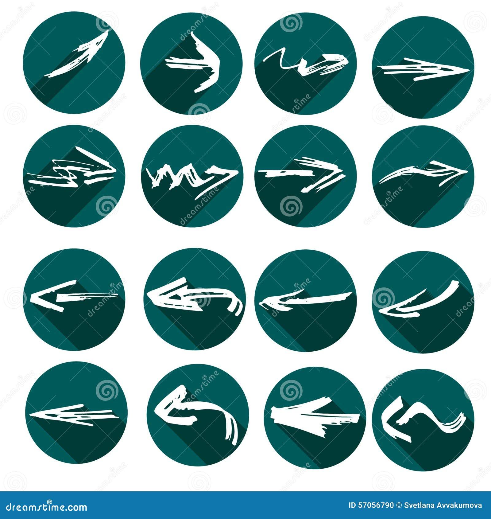 Witte pijlen in grungestijl Groene vlakke pictogrammen