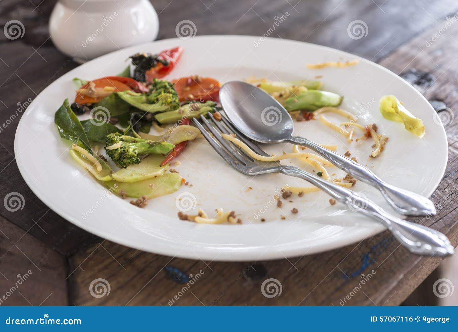 Witte Plaat met crumbs voedsel