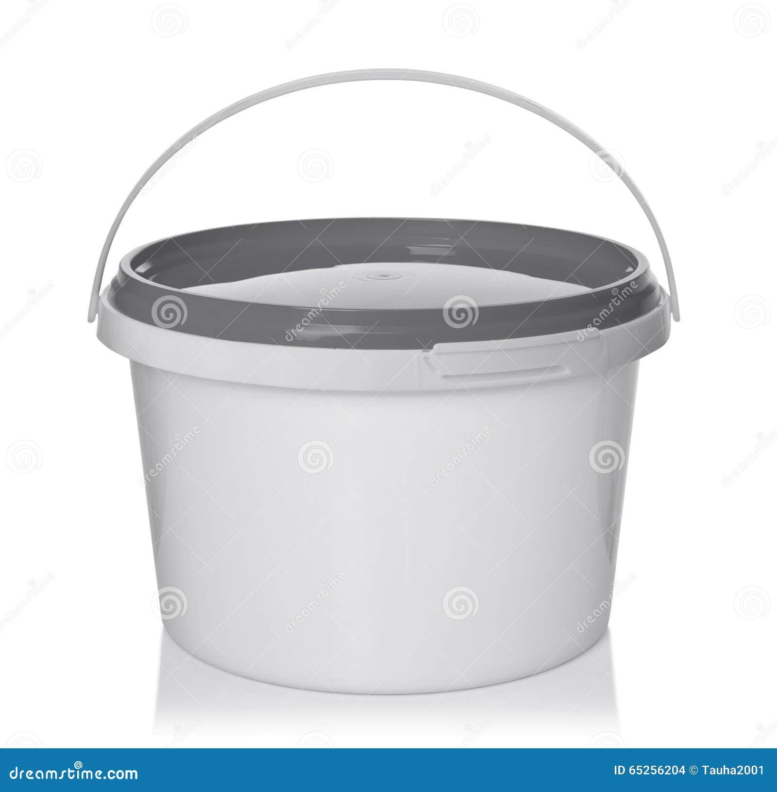Witte plastic emmer met deksel
