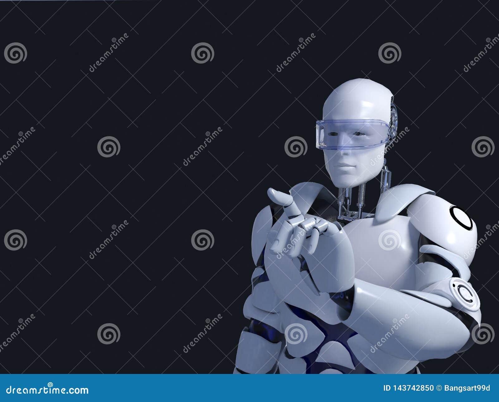 Witte robottechnologie die denkt en inderdaad zijn kin technologie in de toekomst, op een zwarte achtergrond