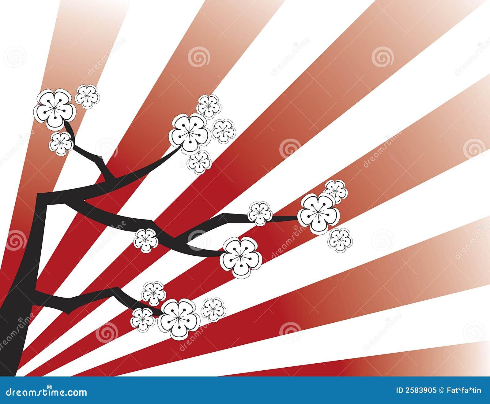 Witte sakura op rode strepen