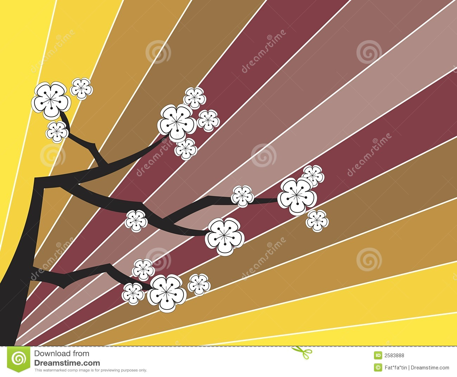 Witte sakuras op retro strepen
