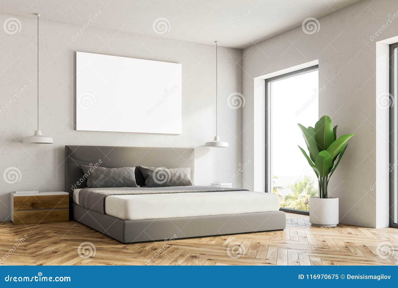 Witte slaapkamerhoek, affiche