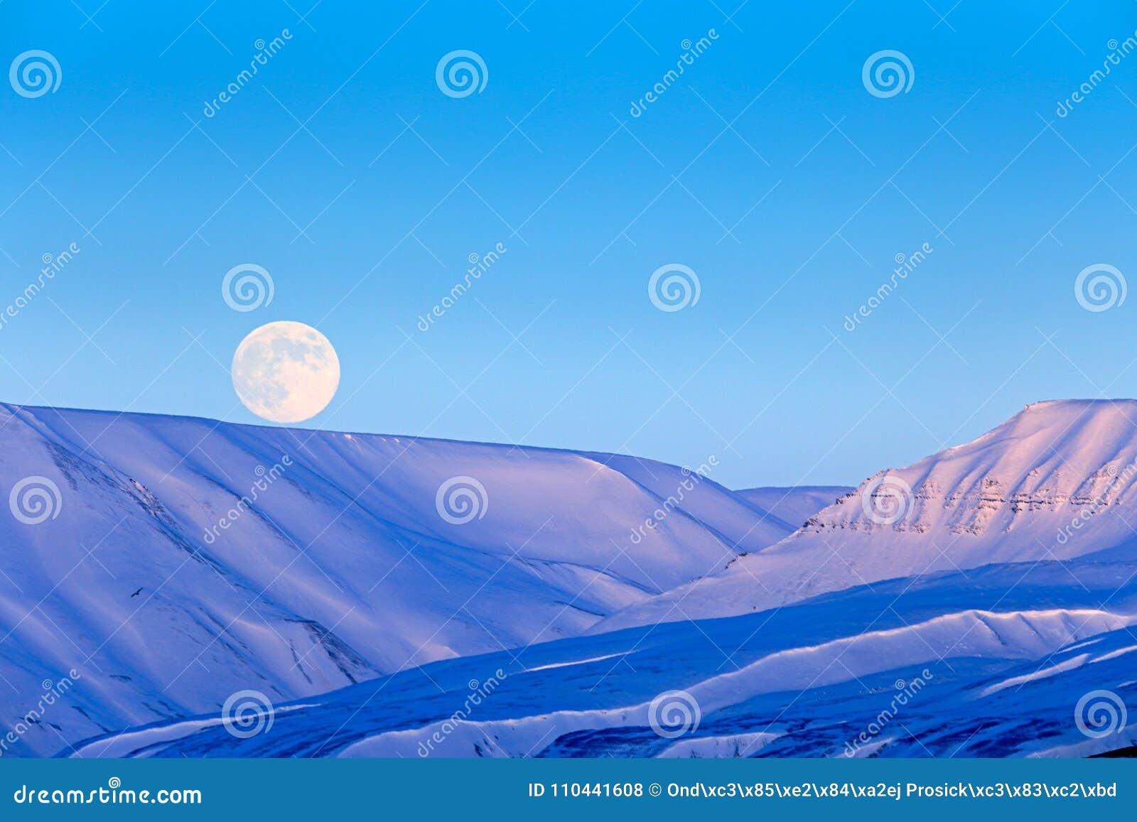 Witte sneeuwberg met Maan, blauwe gletsjer Svalbard, Noorwegen Ijs in oceaan Ijsbergschemering in het Noordenpool Roze wolken met