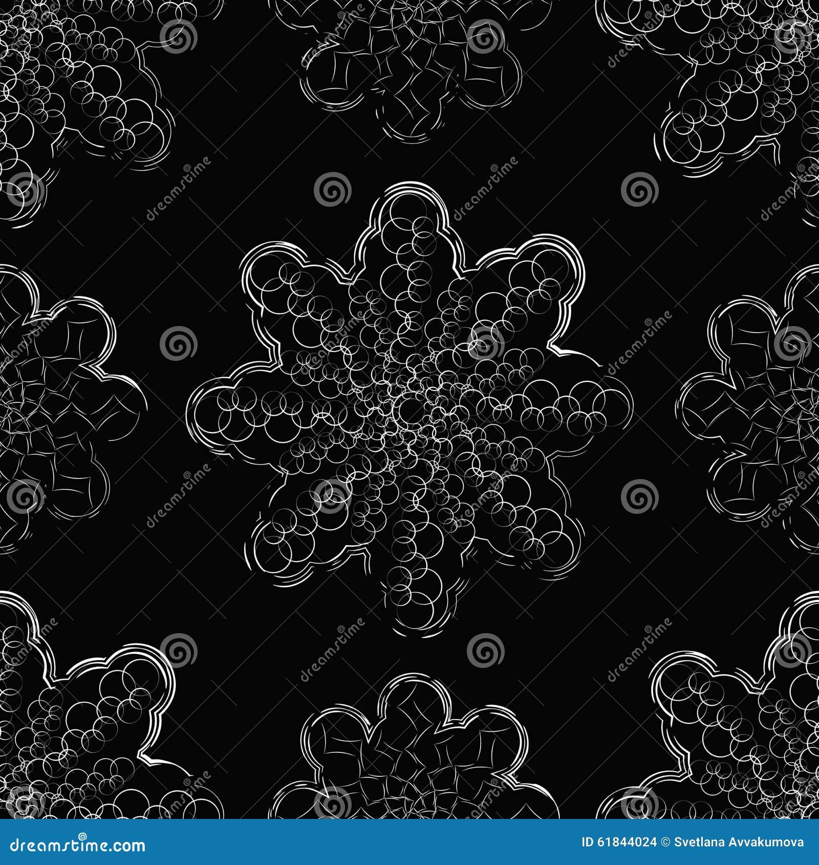 Witte sneeuwvlokken op een zwarte achtergrond Minimalism en symmetrie