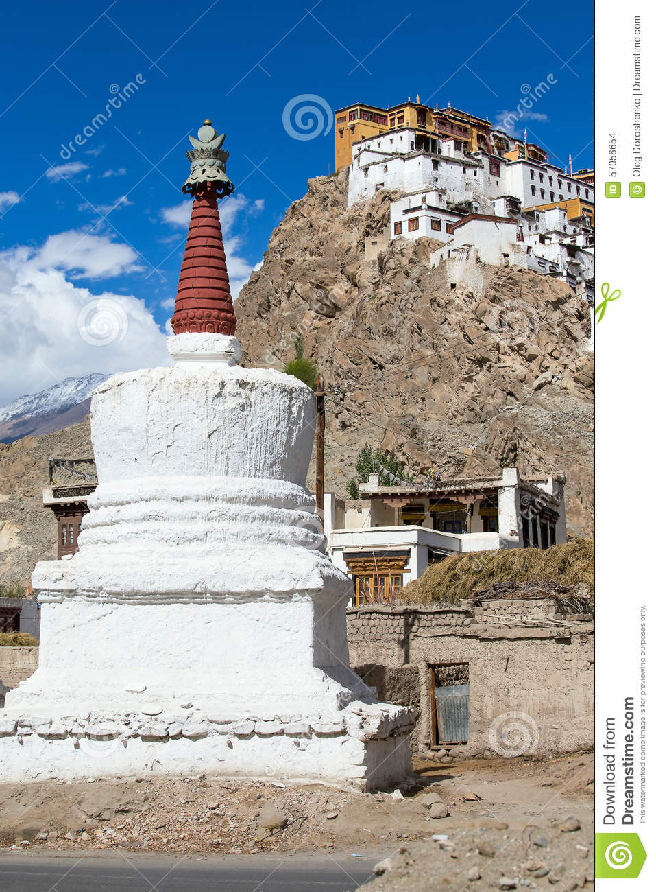 Witte stupa in Tiksey-klooster Ladakh, India