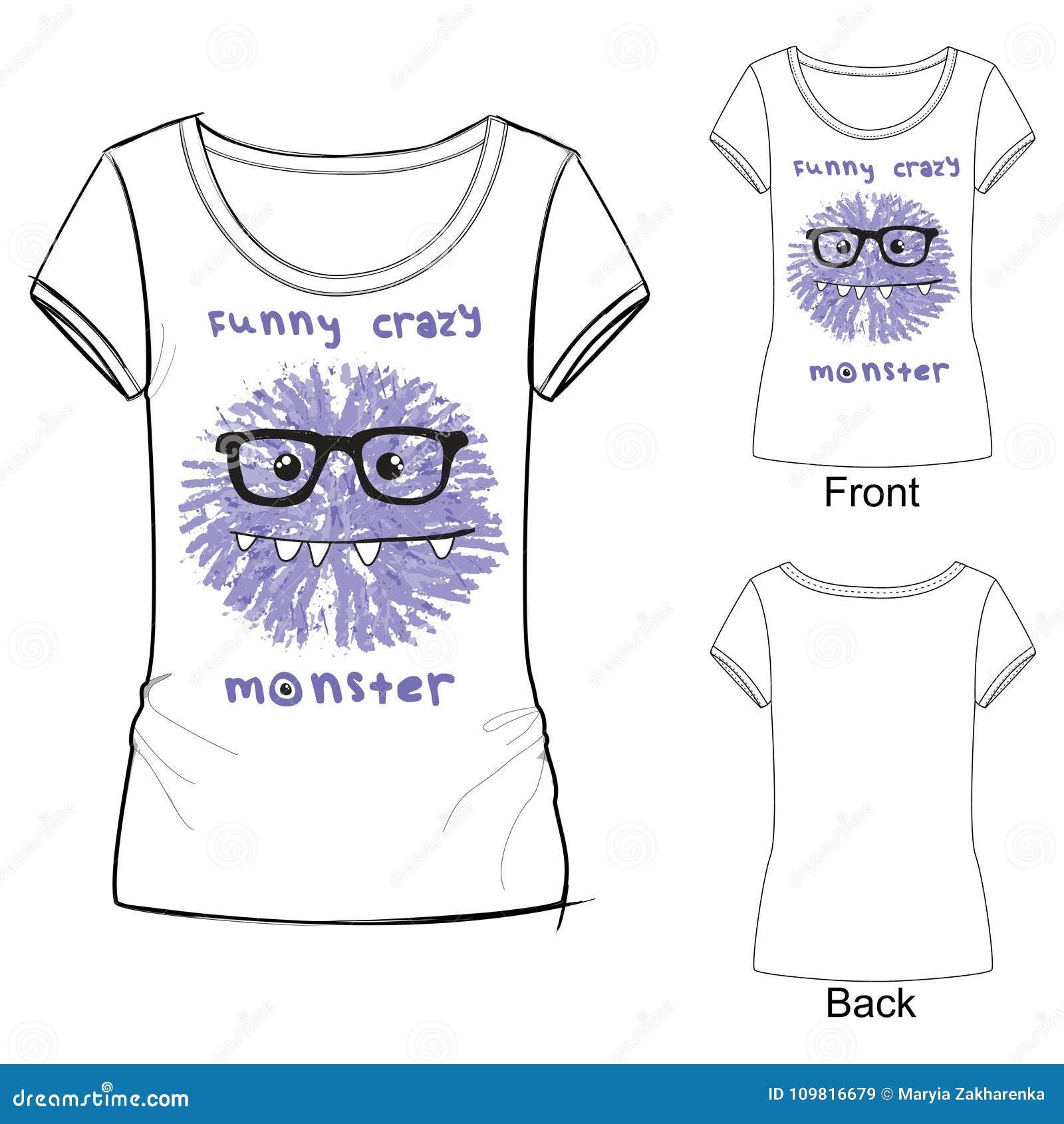 Witte t-shirt met manierdruk met Vectorillustratie grappig gek monster Schetsillustratie die met kleurpotloden wordt getrokken