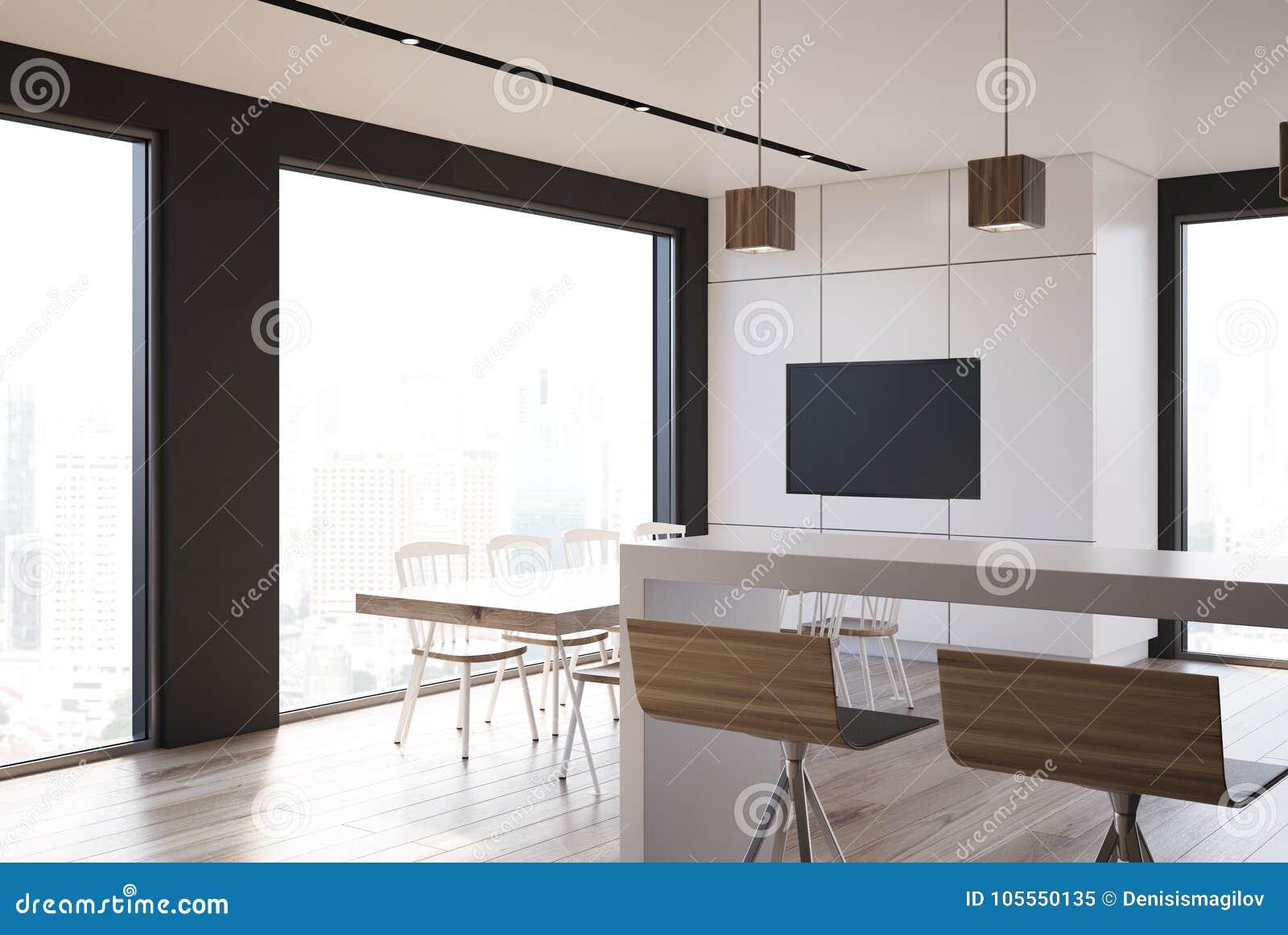 Tv In Keuken : Witte tegel en zwarte keuken tv stock illustratie illustratie