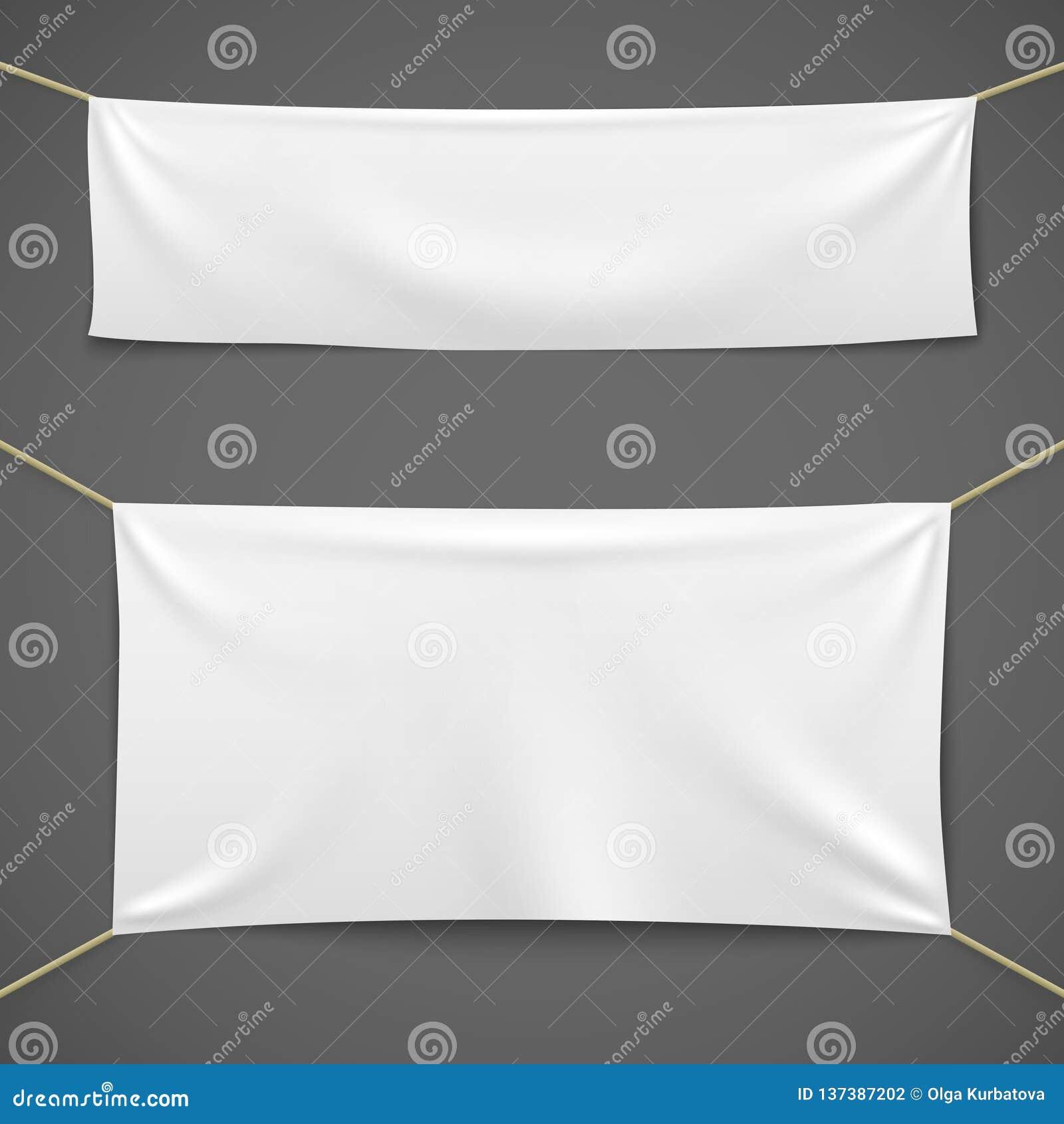 Witte Textielbanners Lege stoffenvlag het hangen het lint horizontale malplaatje van de canvasverkoop de bannerreeks van de recla