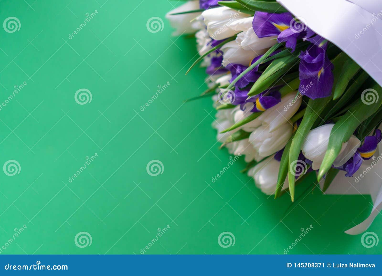 Witte tulpen en purpere irissen op een groene achtergrond
