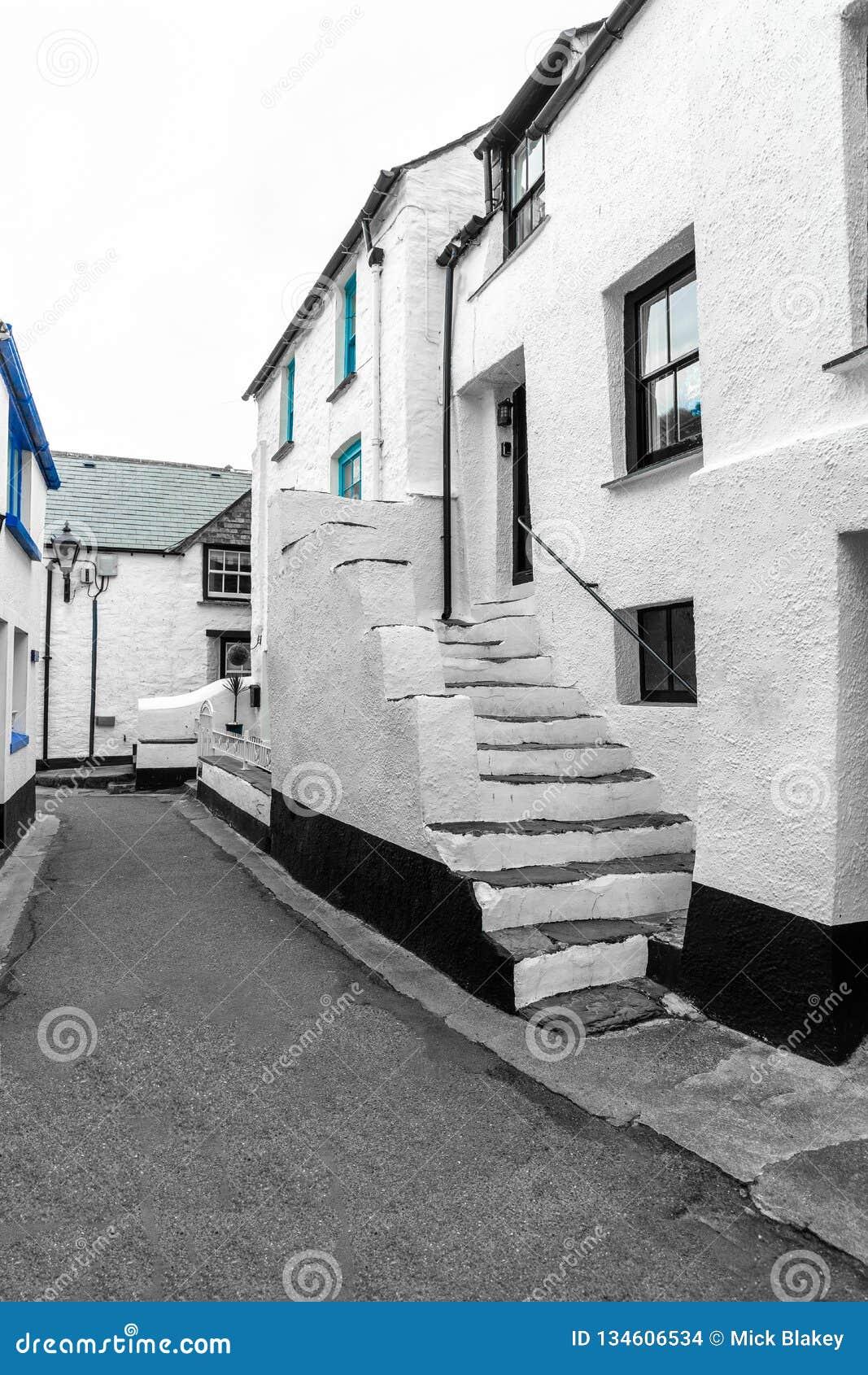 Witte Vakantieplattelandshuisjes in Historische Polperro, Cornwall
