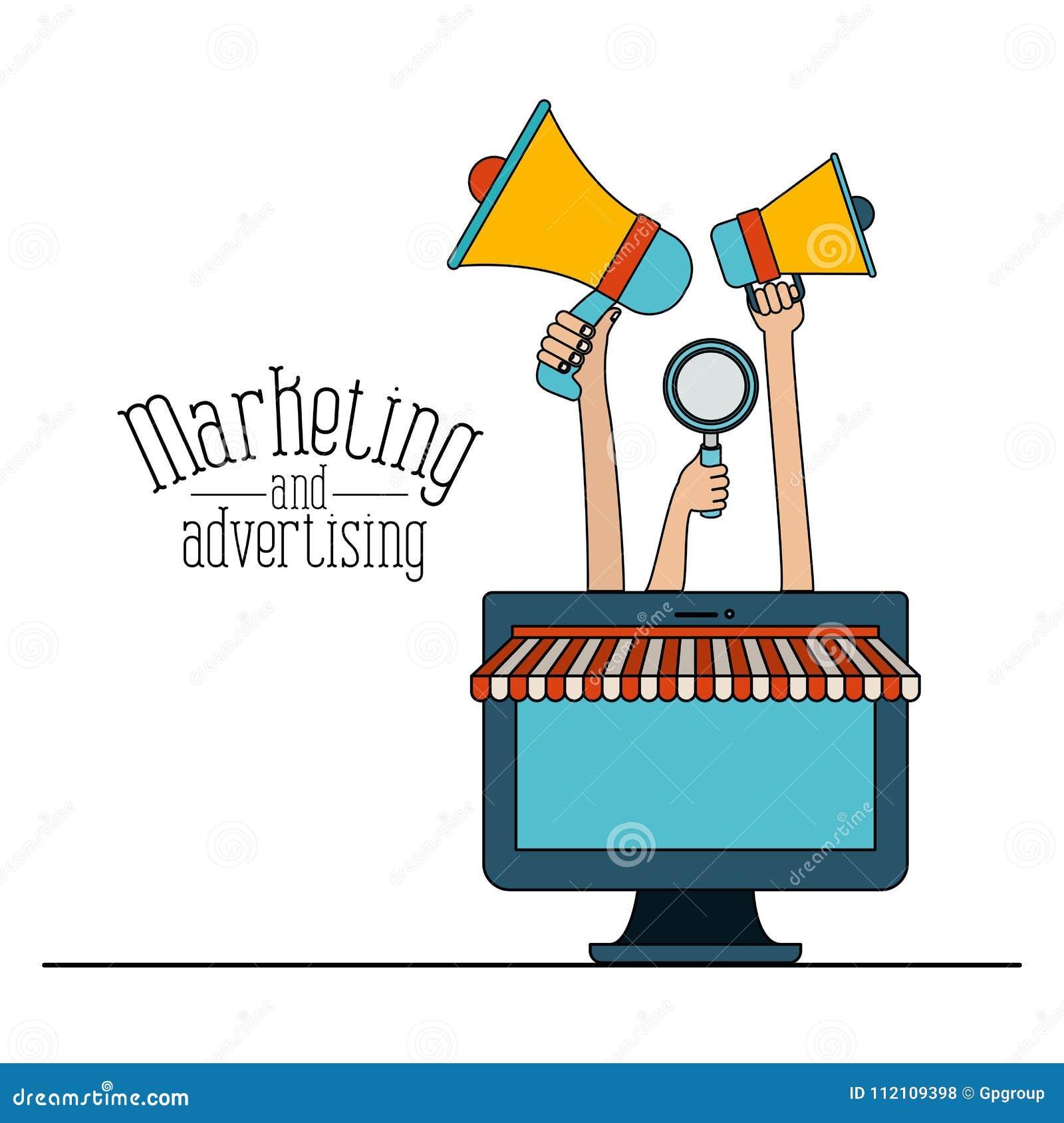 Witte vastgestelde kleurrijke online verkoop als achtergrond met en vertoningscomputer en megafoons die op de markt brengen adver
