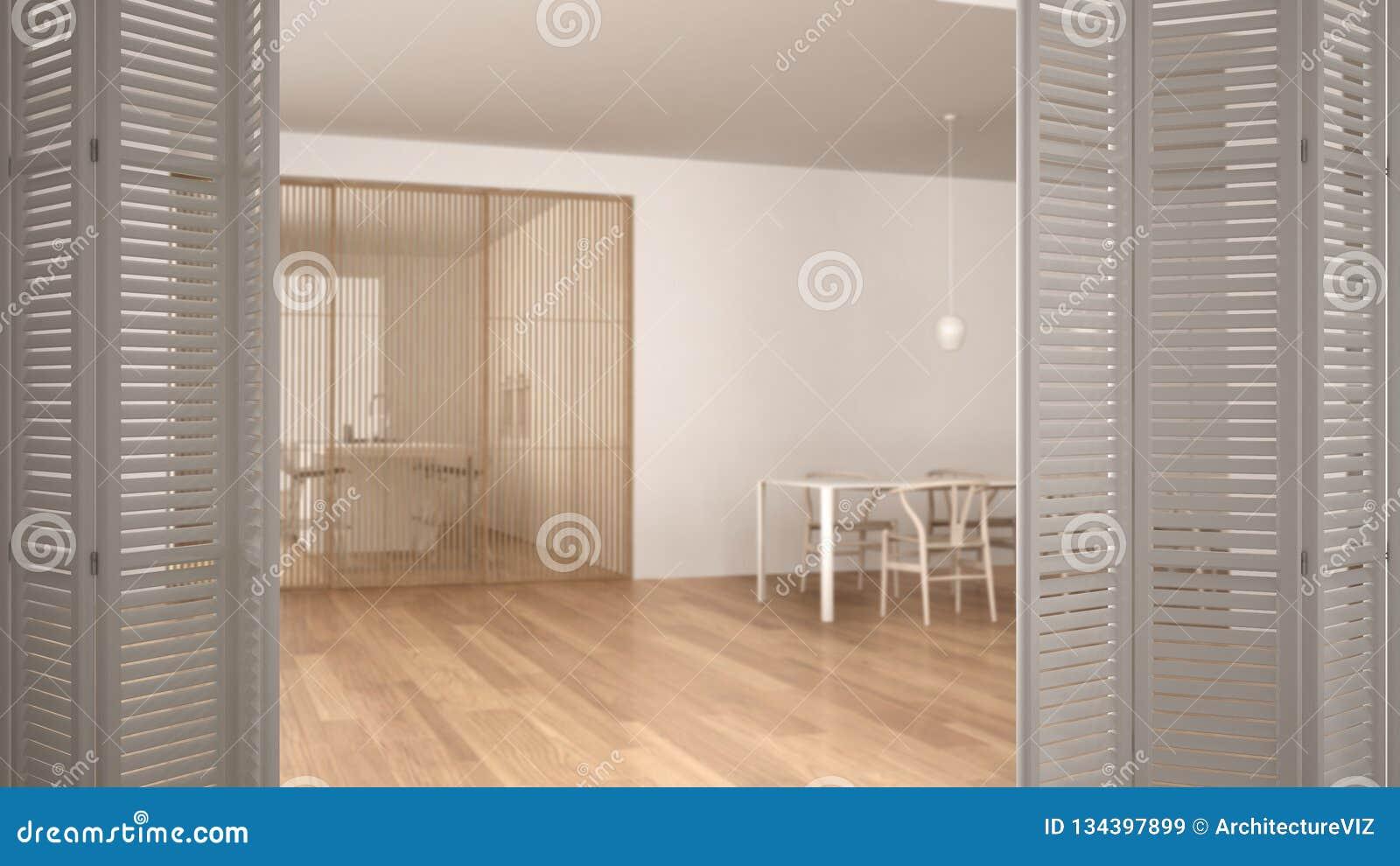 Witte vouwende deur die op minimalistische witte en houten