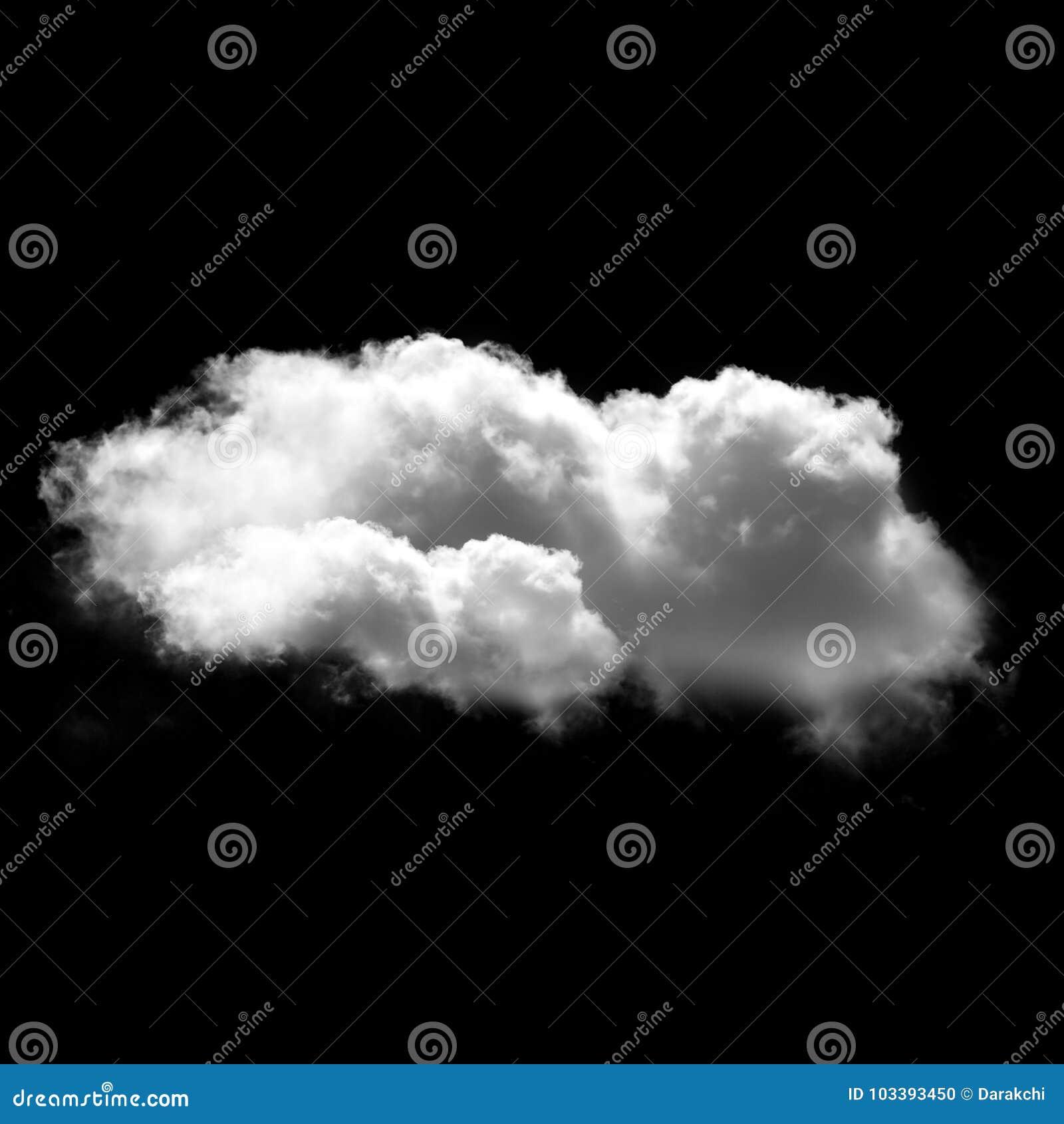 Witte wolk die over zwarte achtergrond, 3D illustratie wordt geïsoleerd