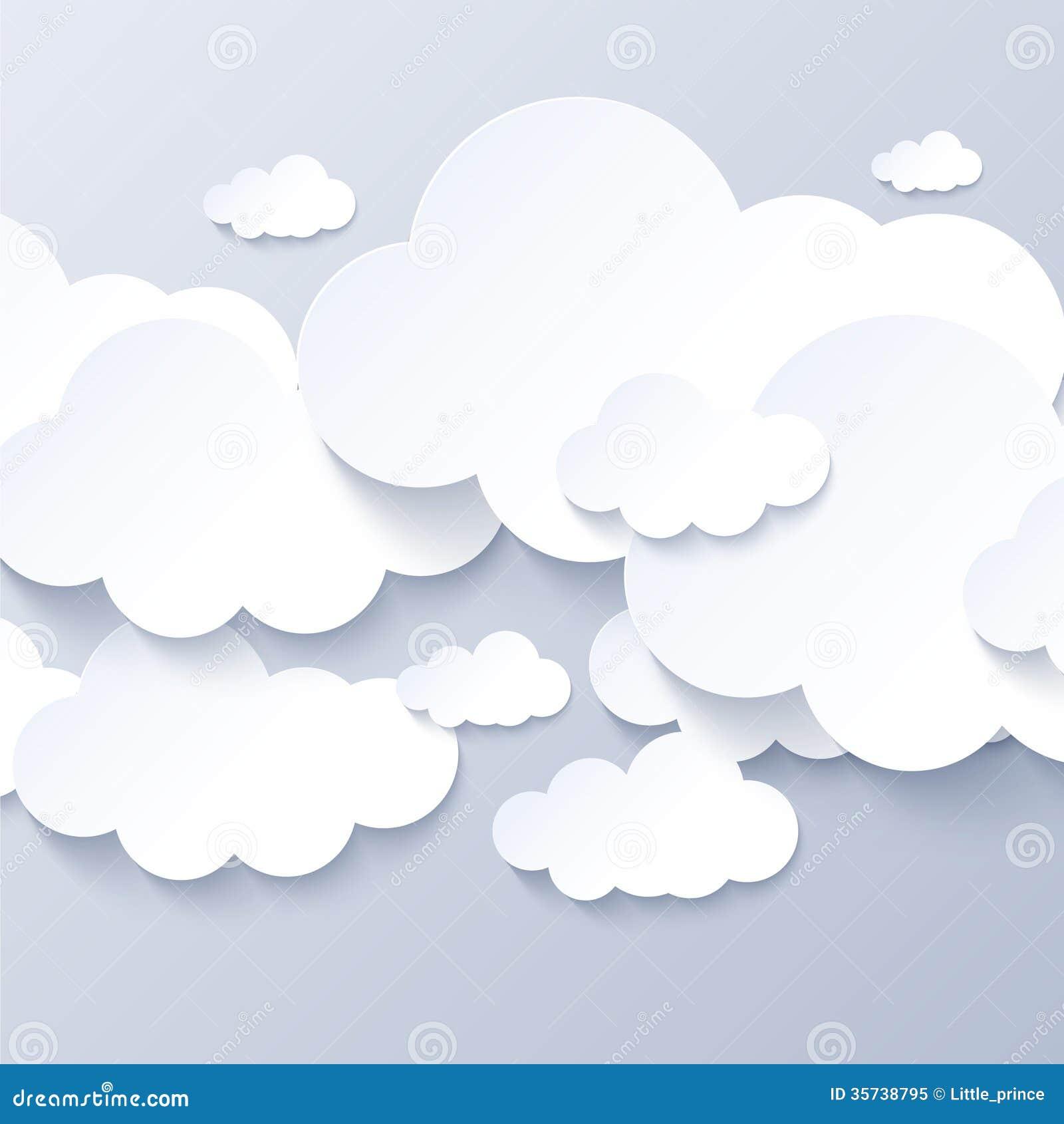 Witte wolken op grijze hemelachtergrond