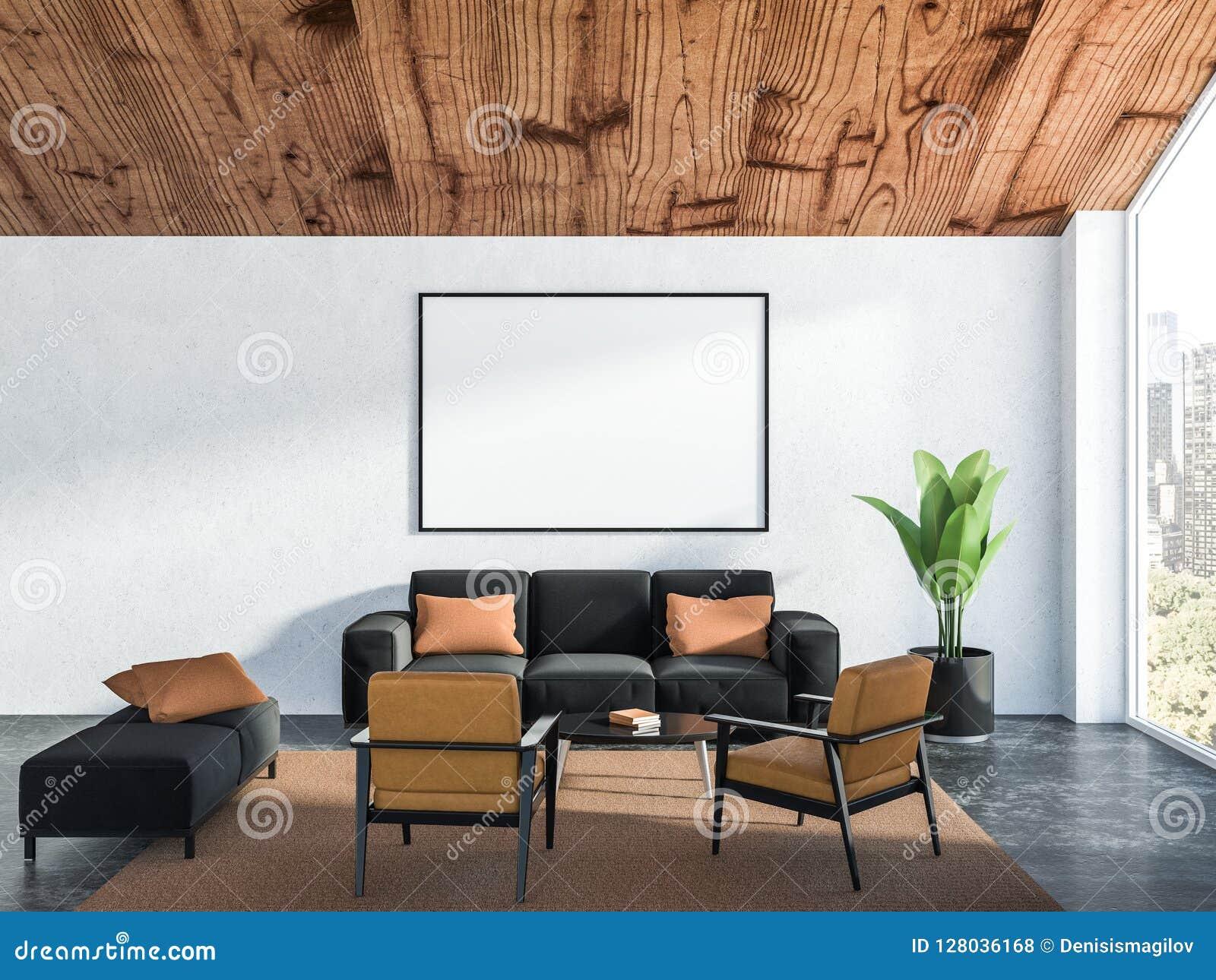 Woonkamer Zwarte Bank : Witte woonkamer binnenlandse zwarte bank affiche stock