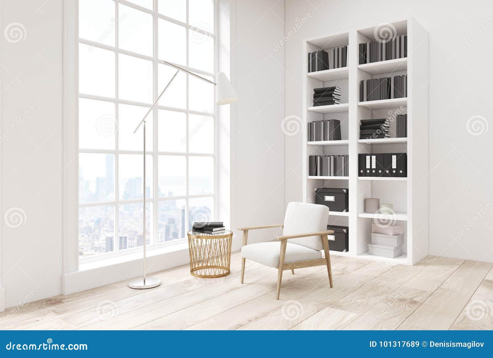 Woonkamer Met Boekenkast : Witte woonkamer met een boekenkast zijaanzicht stock illustratie