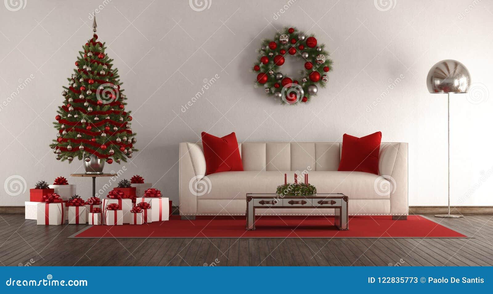 Boom In Woonkamer : Witte woonkamer met kerstmisboom stock illustratie illustratie